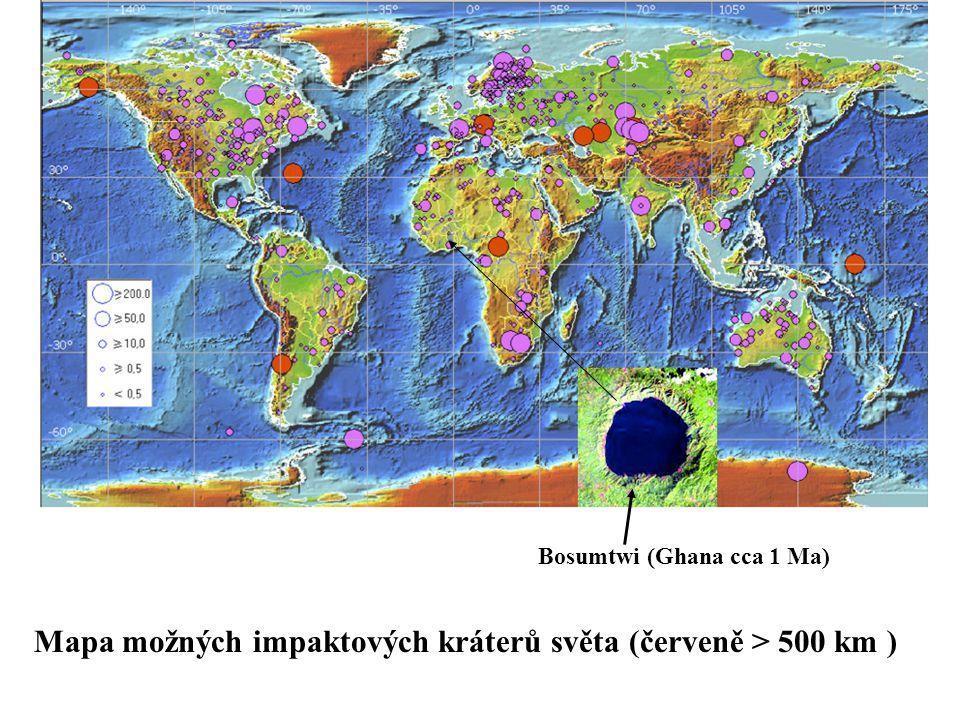 Mapa možných impaktových kráterů světa (červeně > 500 km )