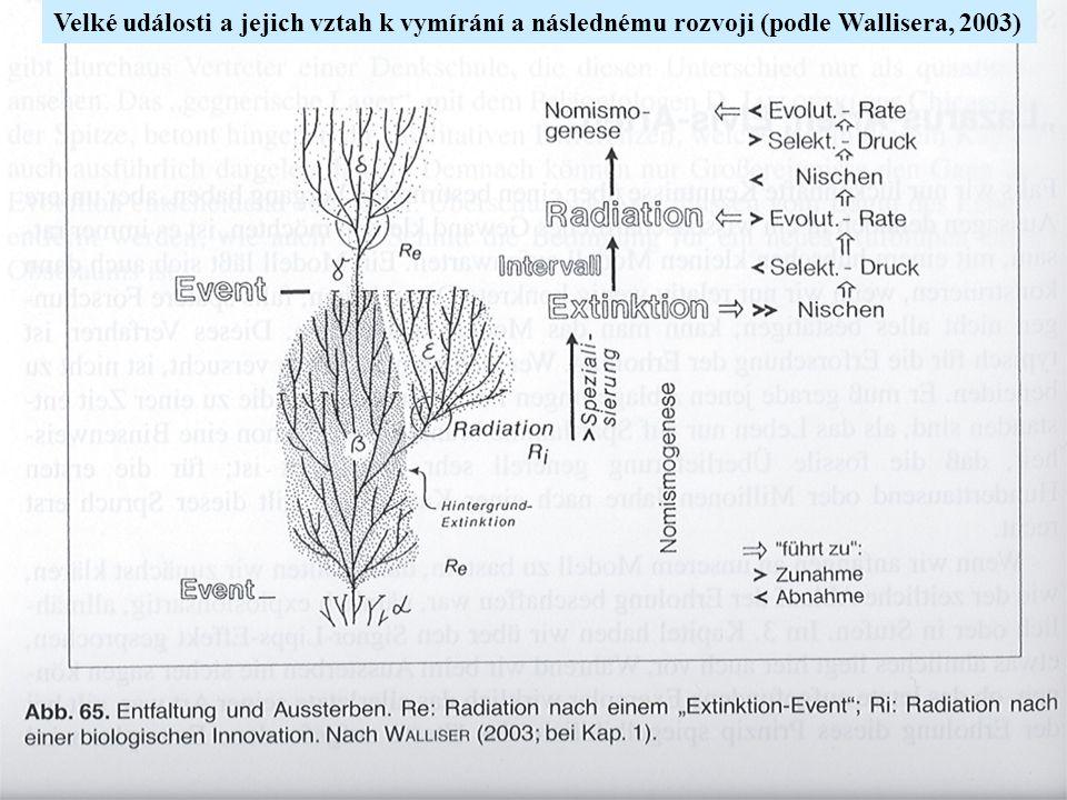 Velké události a jejich vztah k vymírání a následnému rozvoji (podle Wallisera, 2003)