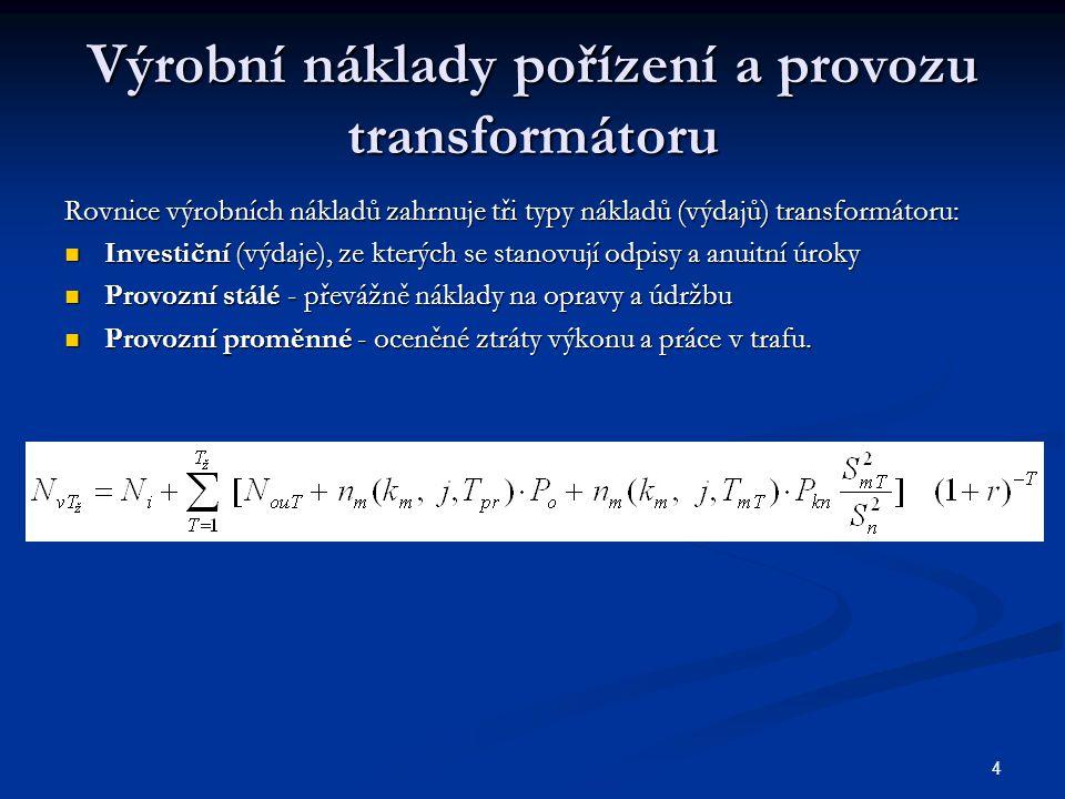 Výrobní náklady pořízení a provozu transformátoru