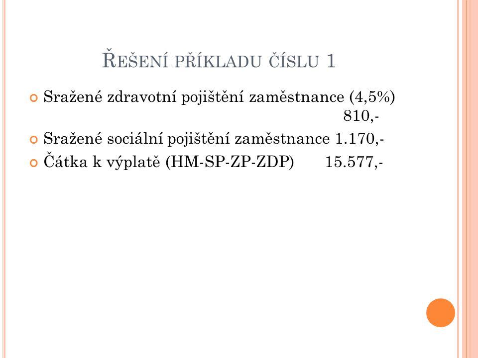 Řešení příkladu číslu 1 Sražené zdravotní pojištění zaměstnance (4,5%) 810,-