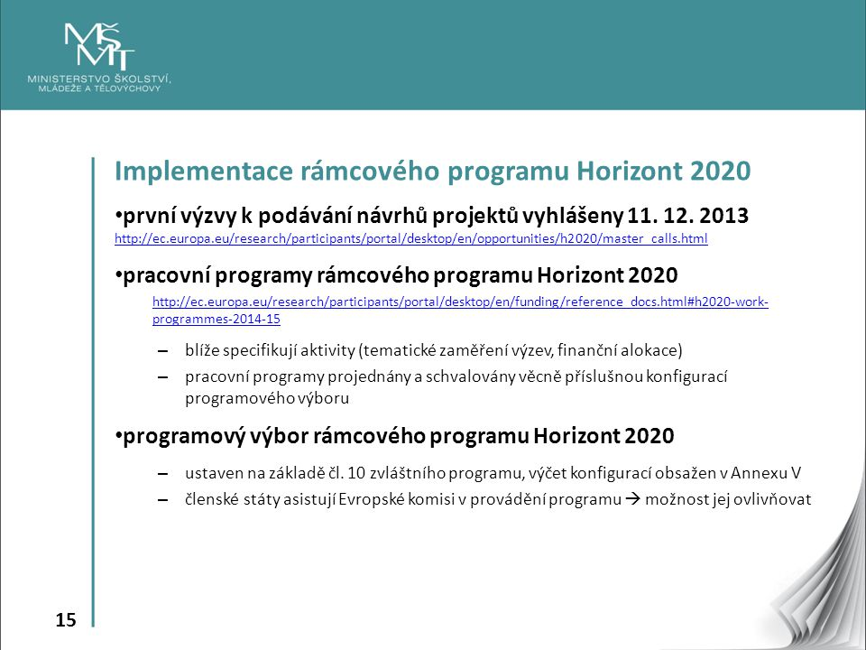 Implementace rámcového programu Horizont 2020