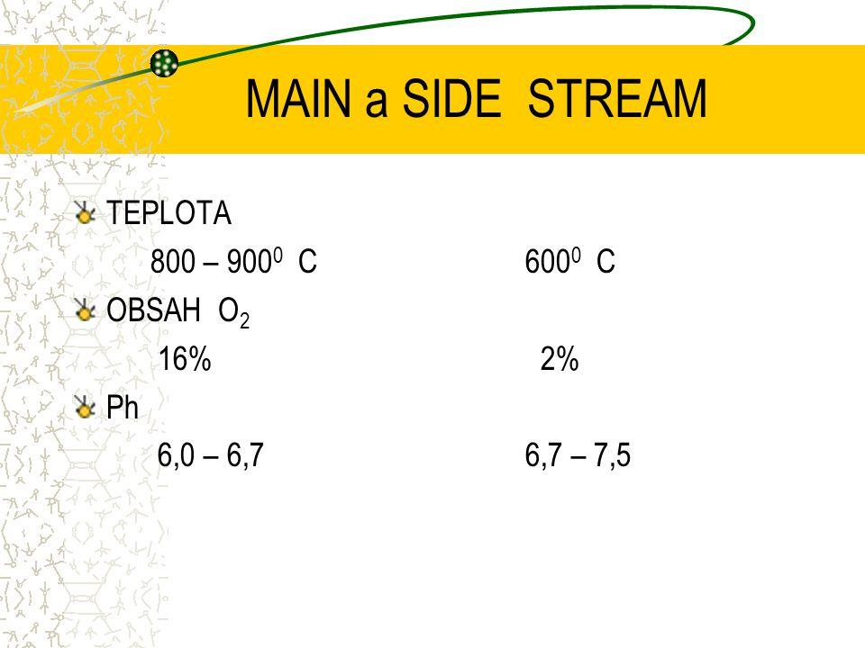 MAIN a SIDE STREAM TEPLOTA 800 – 9000 C OBSAH O2 16% Ph 6,0 – 6,7