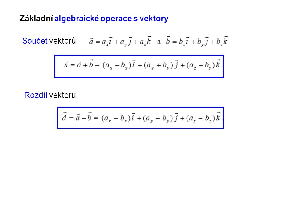 Základní algebraické operace s vektory