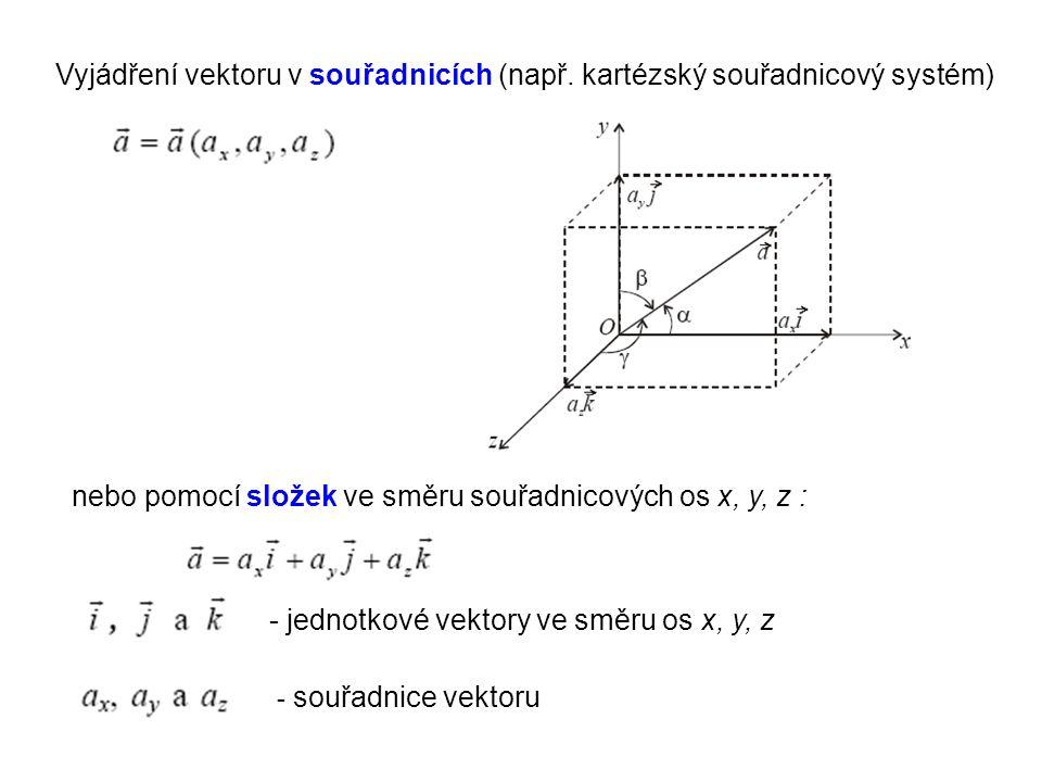 Vyjádření vektoru v souřadnicích (např. kartézský souřadnicový systém)