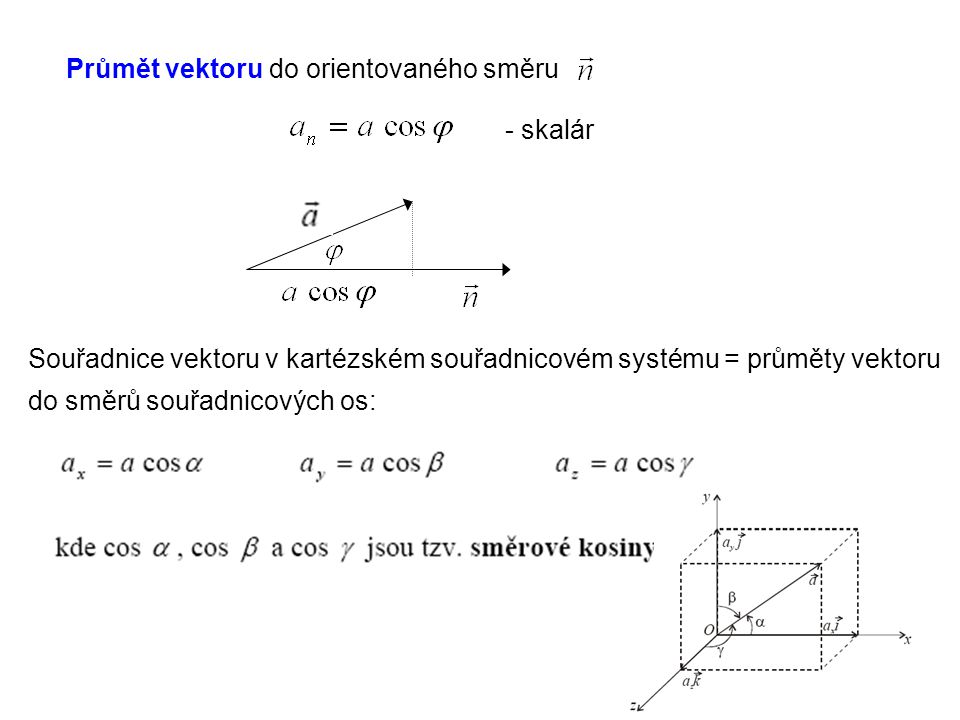 Průmět vektoru do orientovaného směru
