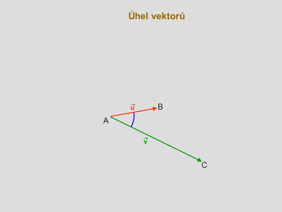 Úhel vektorů u B A v C
