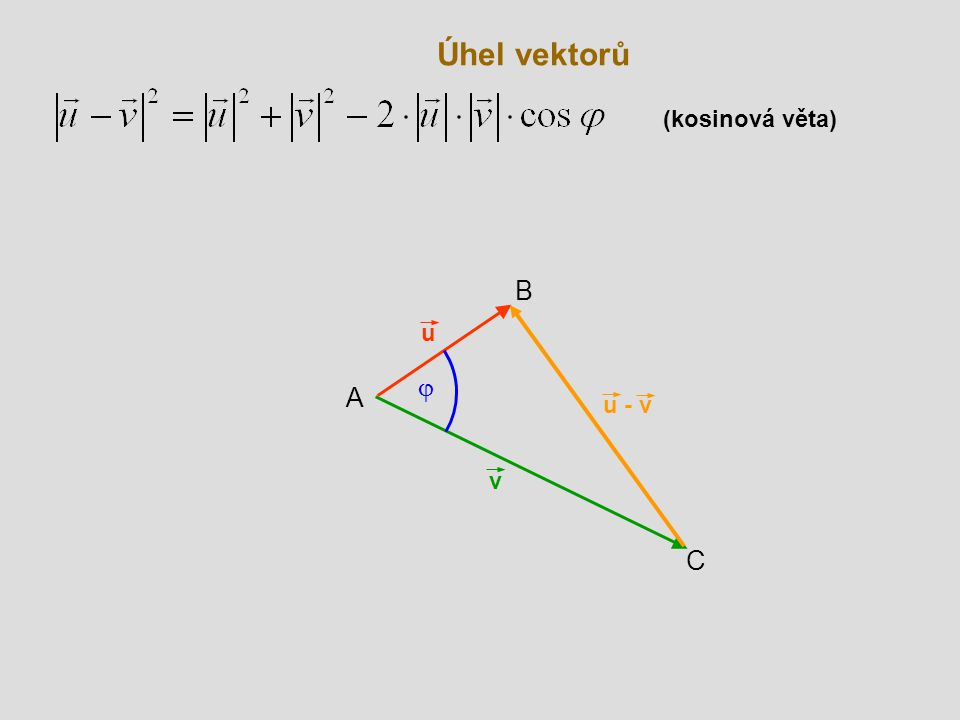 Úhel vektorů (kosinová věta) B u j A u - v v C
