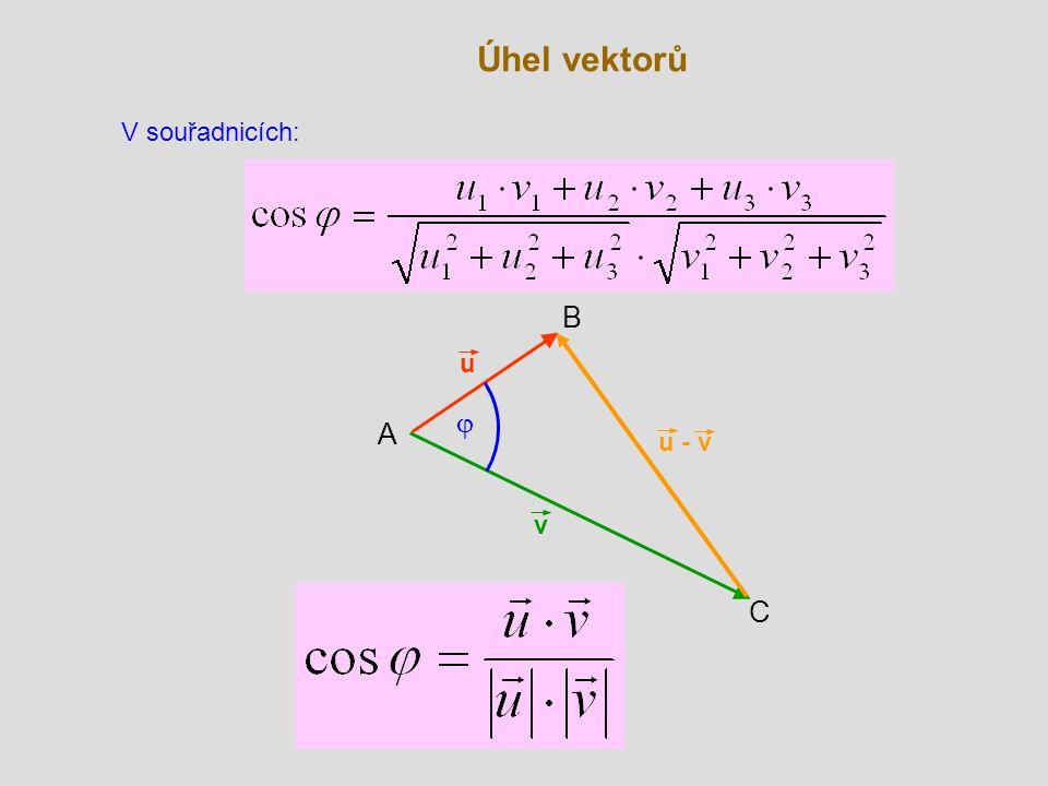 Úhel vektorů V souřadnicích: B u j A u - v v C