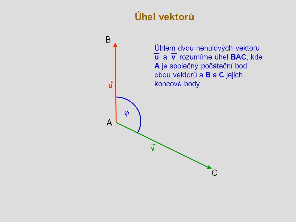 Úhel vektorů B. Úhlem dvou nenulových vektorů u a v rozumíme úhel BAC, kde A je společný počáteční bod obou vektorů a B a C jejich koncové body.