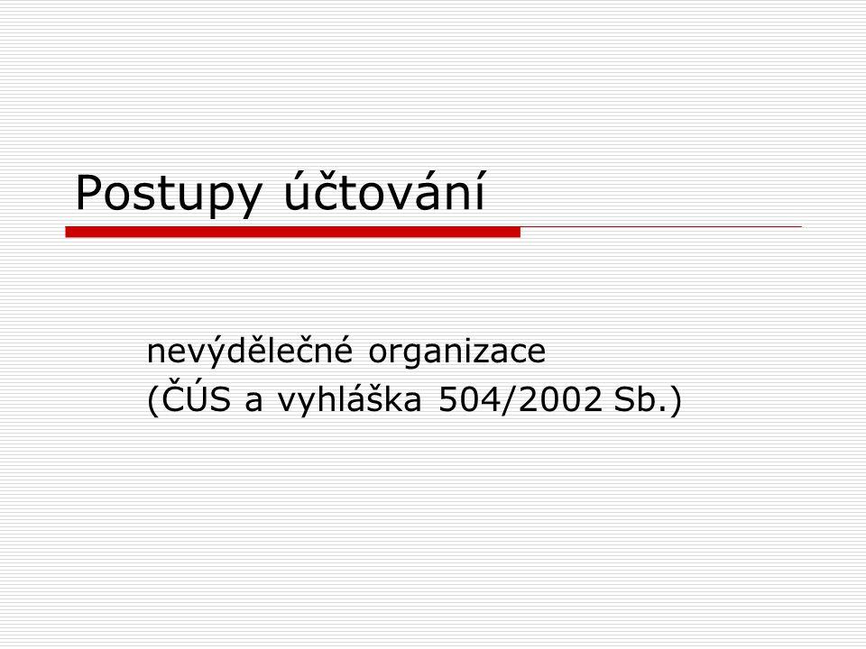 nevýdělečné organizace (ČÚS a vyhláška 504/2002 Sb.)