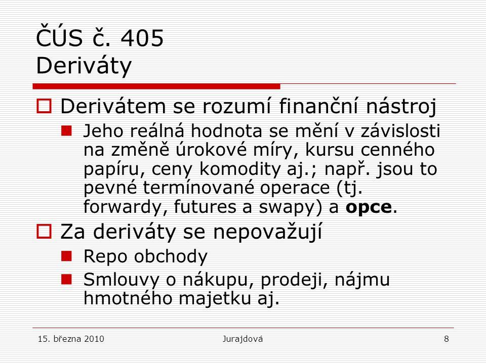 ČÚS č. 405 Deriváty Derivátem se rozumí finanční nástroj