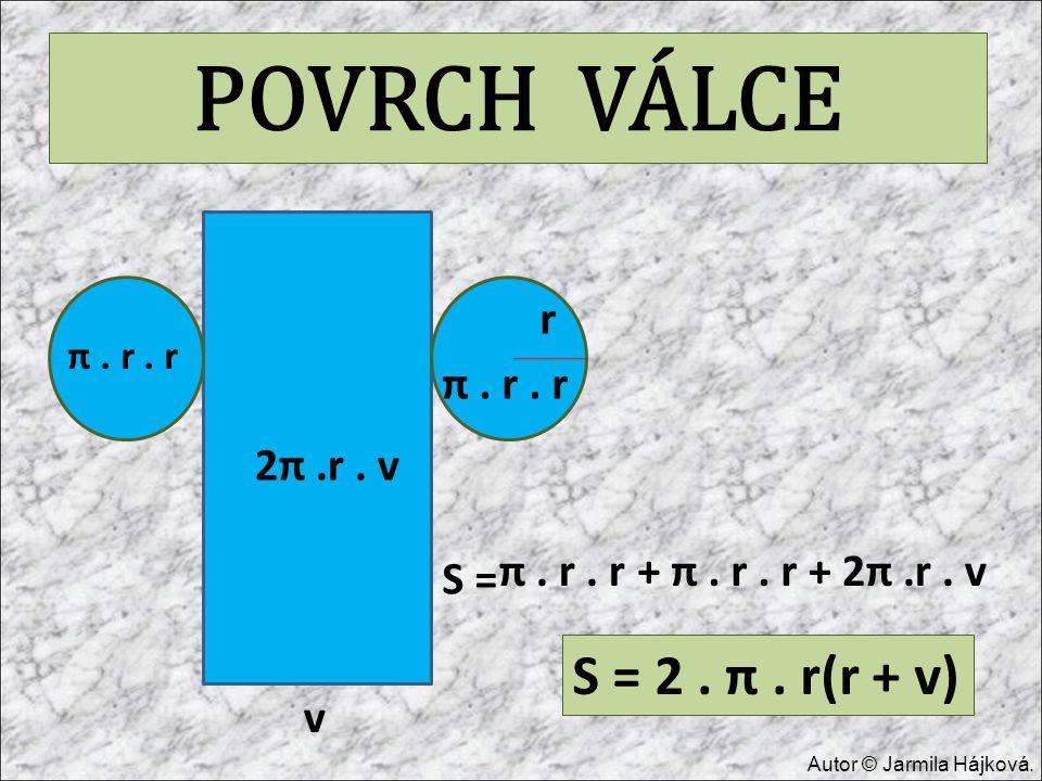 POVRCH VÁLCE S = 2 . π . r(r + v) r π . r . r 2π .r . v π . r . r