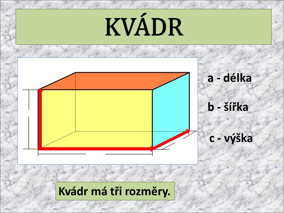KVÁDR a - délka a b b - šířka c - výška c Kvádr má tři rozměry.