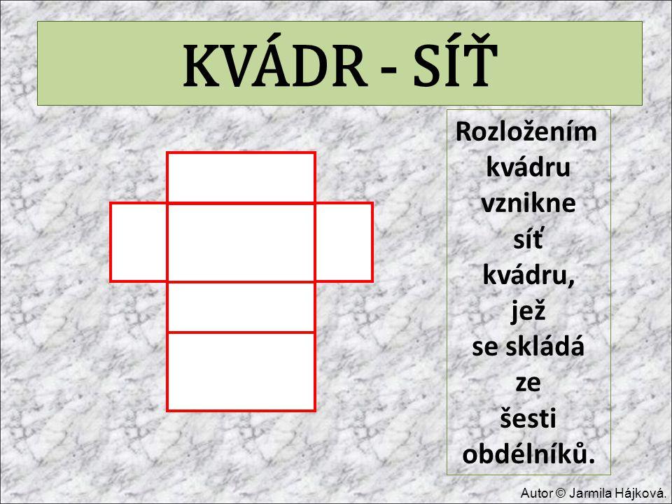 KVÁDR - SÍŤ Rozložením kvádru vznikne síť kvádru, jež se skládá ze