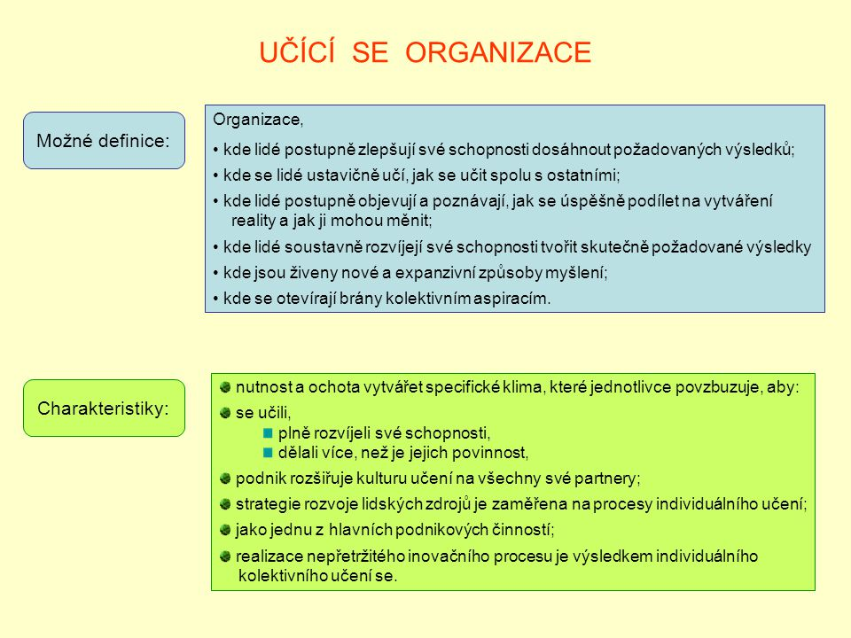 UČÍCÍ SE ORGANIZACE Možné definice: Charakteristiky: Organizace,