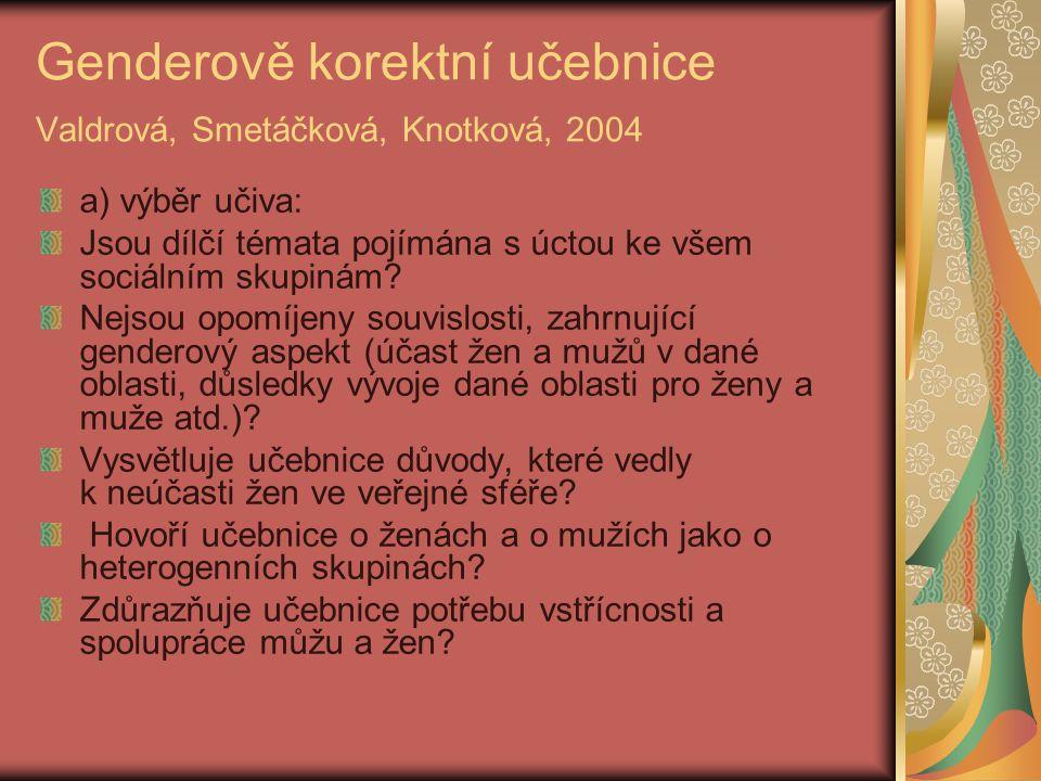 Genderově korektní učebnice Valdrová, Smetáčková, Knotková, 2004