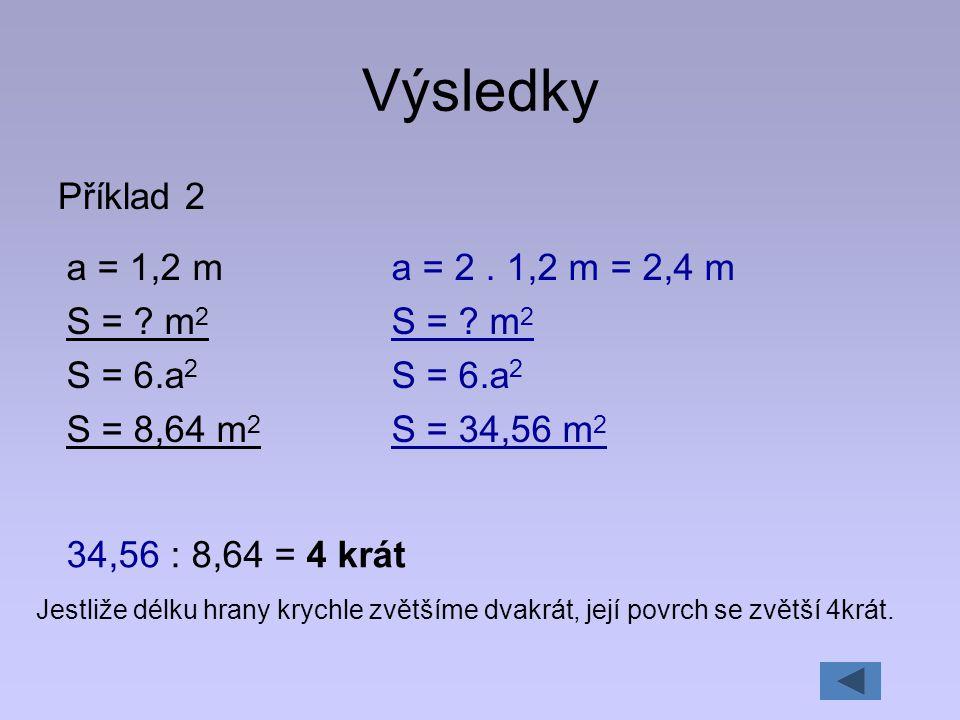 Výsledky Příklad 2 a = 1,2 m S = m2 S = 6.a2 S = 8,64 m2
