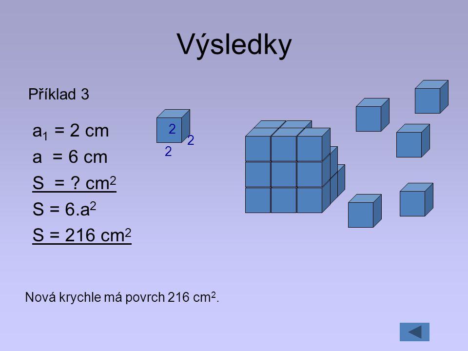Výsledky a1 = 2 cm a = 6 cm S = cm2 S = 6.a2 S = 216 cm2 Příklad 3 2