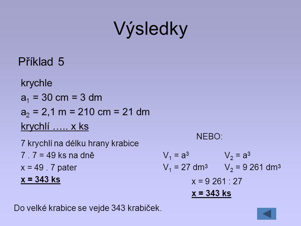 Výsledky Příklad 5 krychle a1 = 30 cm = 3 dm