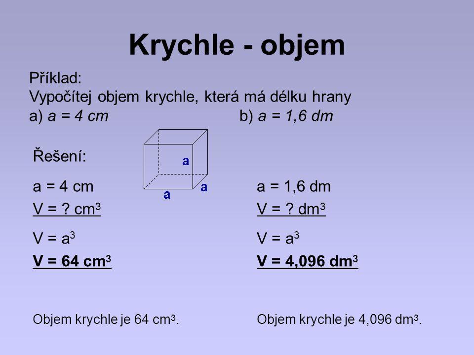 Krychle - objem Příklad: Vypočítej objem krychle, která má délku hrany