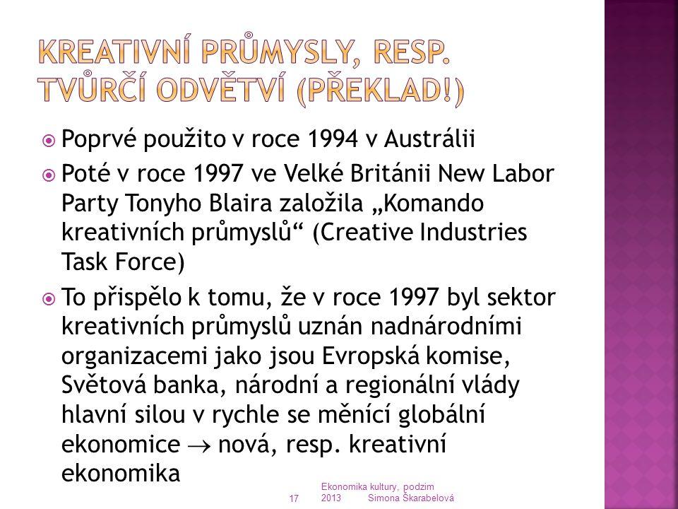 Kreativní průmysly, resp. tvůrčí odvětví (překlad!)