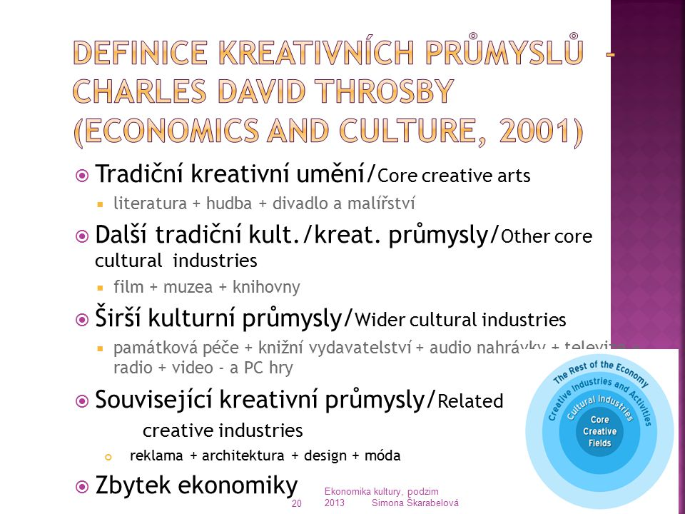 Definice kreativních průmyslů - Charles David Throsby (Economics and Culture, 2001)