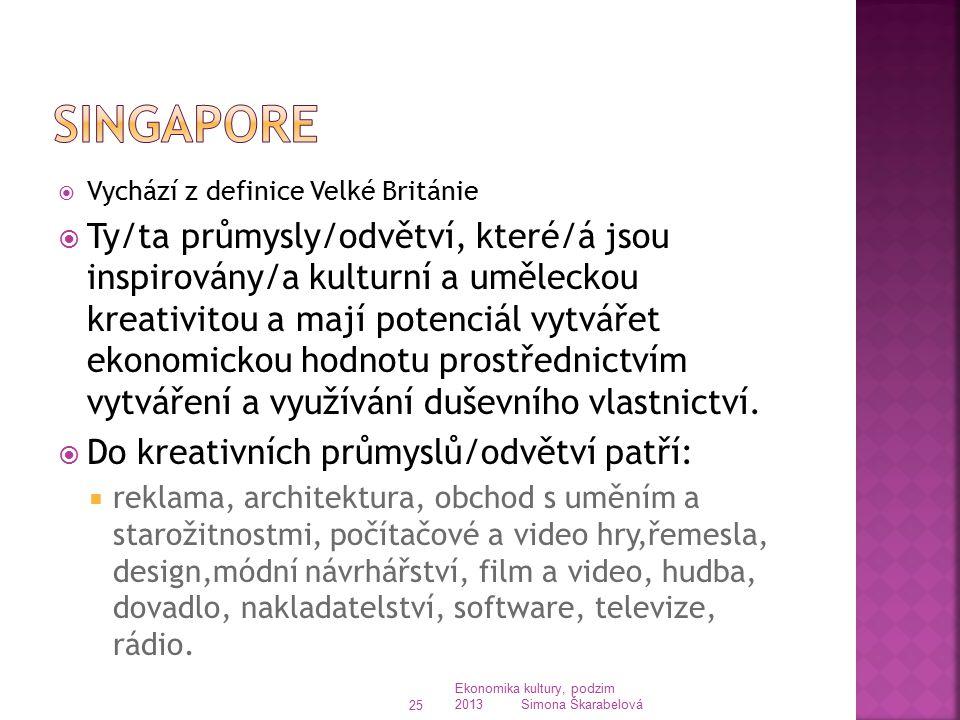 Singapore Vychází z definice Velké Británie.