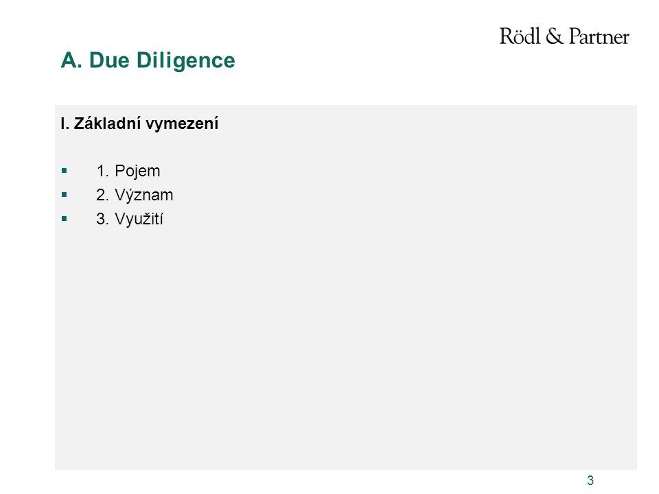 A. Due Diligence I. Základní vymezení 1. Pojem 2. Význam 3. Využití