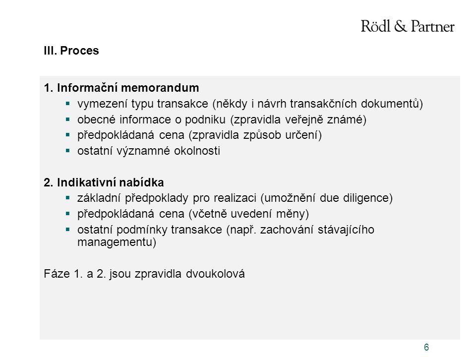 III. Proces 1. Informační memorandum. vymezení typu transakce (někdy i návrh transakčních dokumentů)