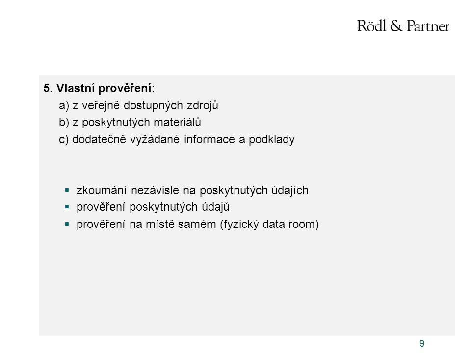 5. Vlastní prověření: a) z veřejně dostupných zdrojů. b) z poskytnutých materiálů. c) dodatečně vyžádané informace a podklady.