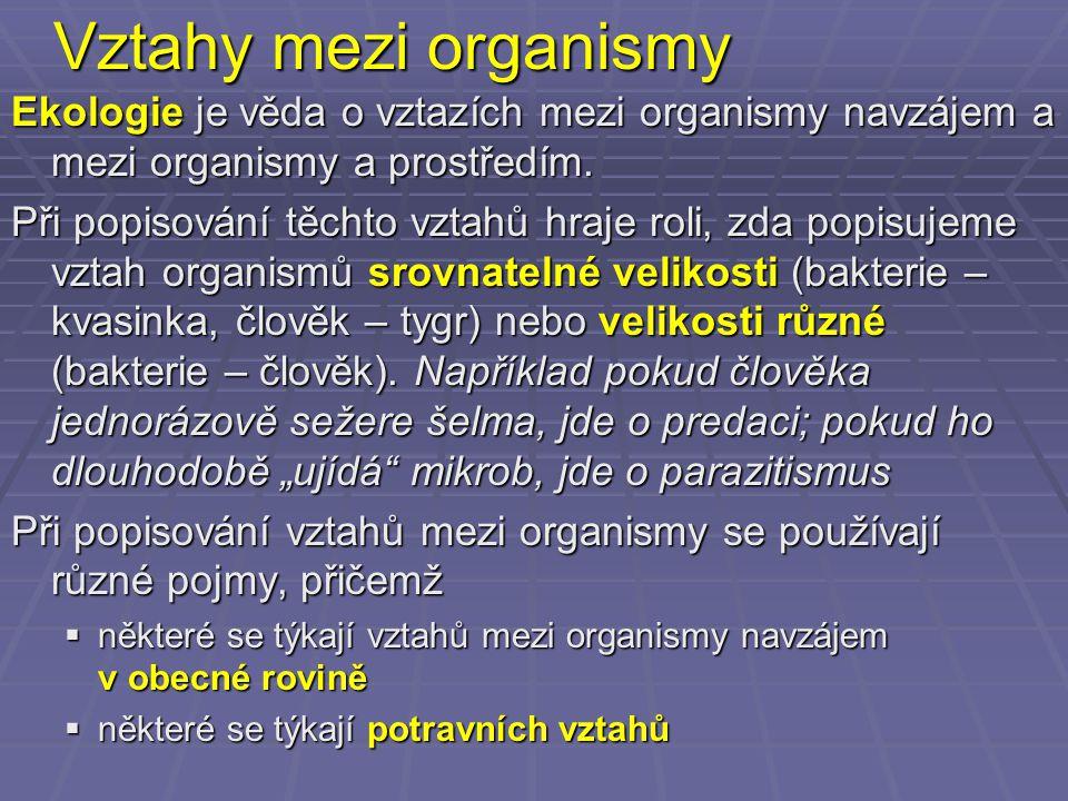 Vztahy mezi organismy Ekologie je věda o vztazích mezi organismy navzájem a mezi organismy a prostředím.