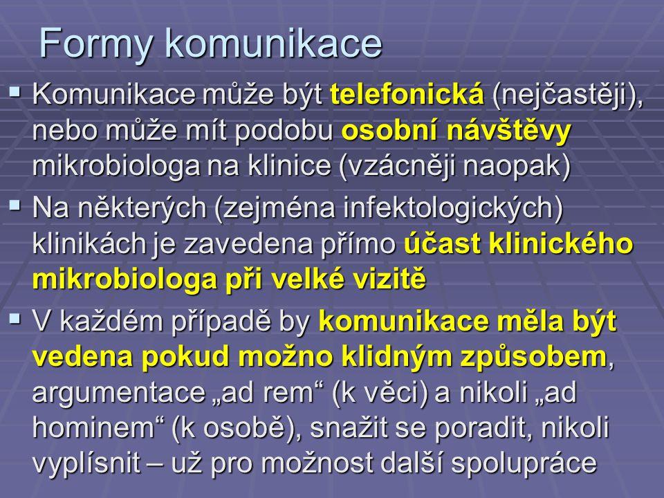 Formy komunikace Komunikace může být telefonická (nejčastěji), nebo může mít podobu osobní návštěvy mikrobiologa na klinice (vzácněji naopak)