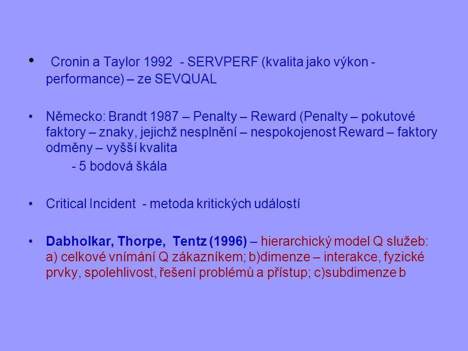Cronin a Taylor 1992 - SERVPERF (kvalita jako výkon - performance) – ze SEVQUAL
