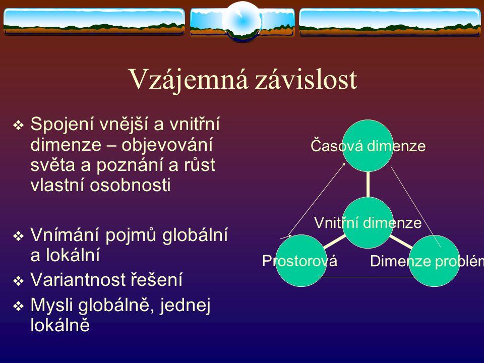 Vzájemná závislost Spojení vnější a vnitřní dimenze – objevování světa a poznání a růst vlastní osobnosti.