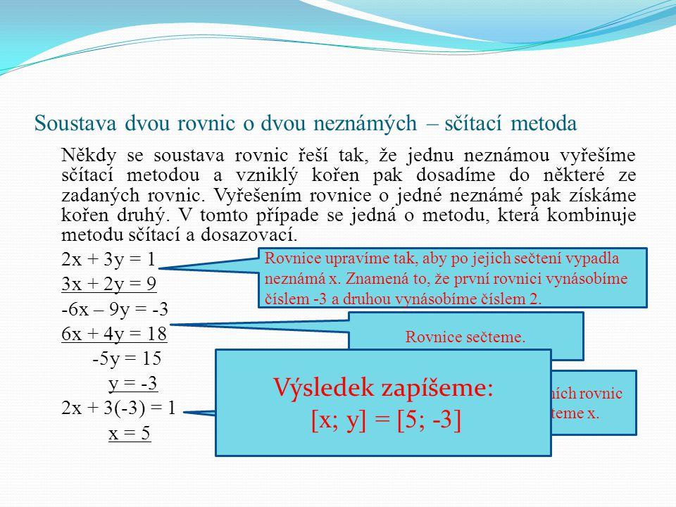 Soustava dvou rovnic o dvou neznámých – sčítací metoda
