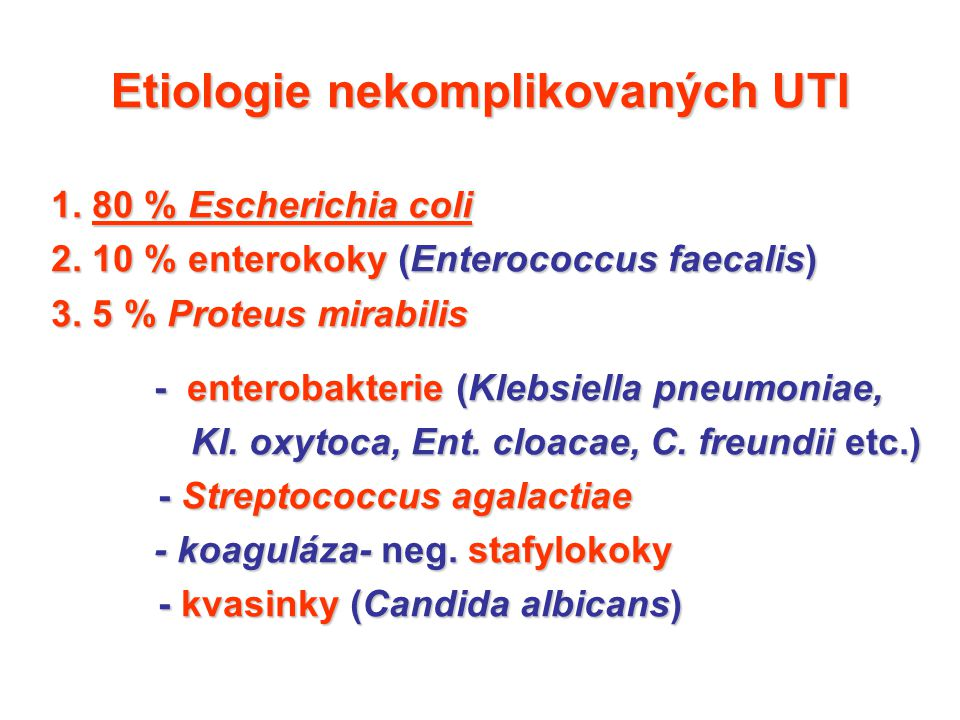 Etiologie nekomplikovaných UTI