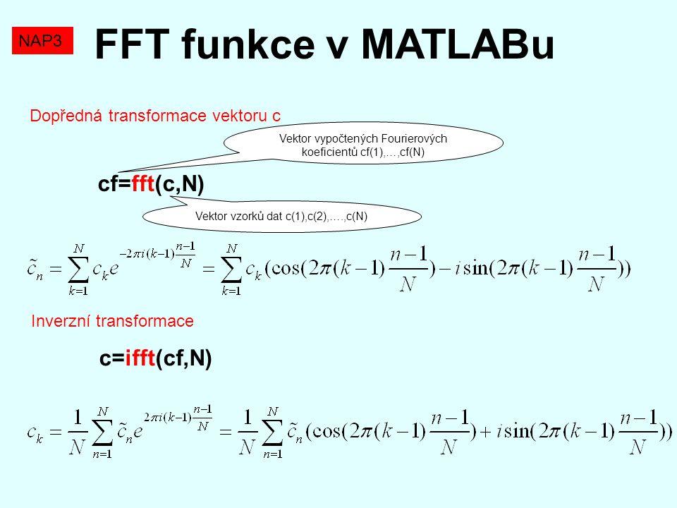 FFT funkce v MATLABu cf=fft(c,N) c=ifft(cf,N) NAP3