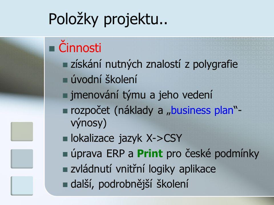 Položky projektu.. Činnosti získání nutných znalostí z polygrafie