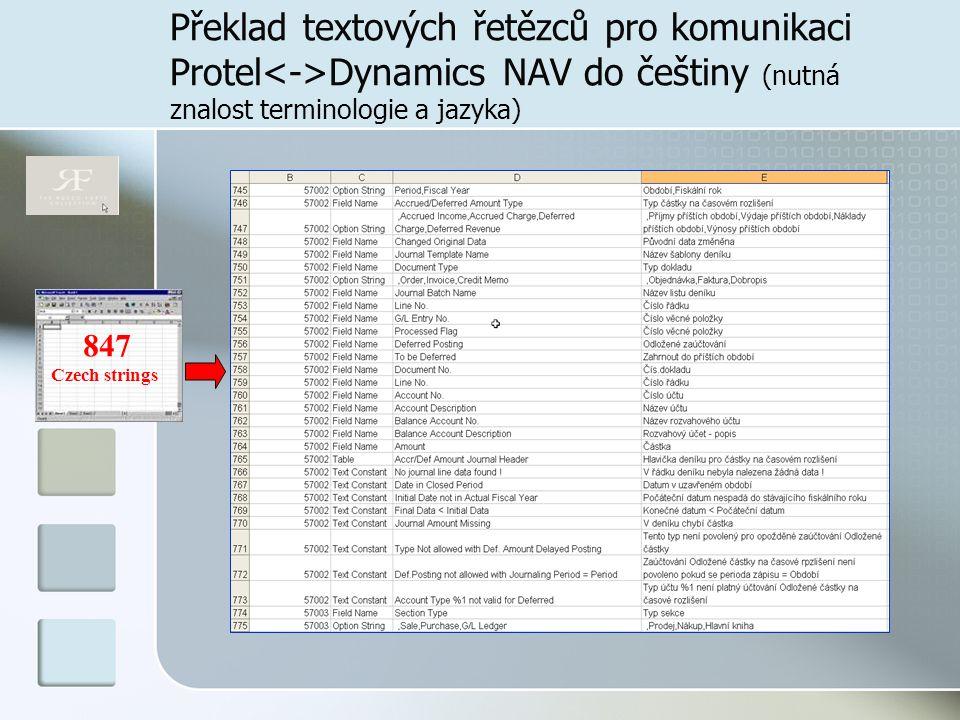 Překlad textových řetězců pro komunikaci Protel<->Dynamics NAV do češtiny (nutná znalost terminologie a jazyka)