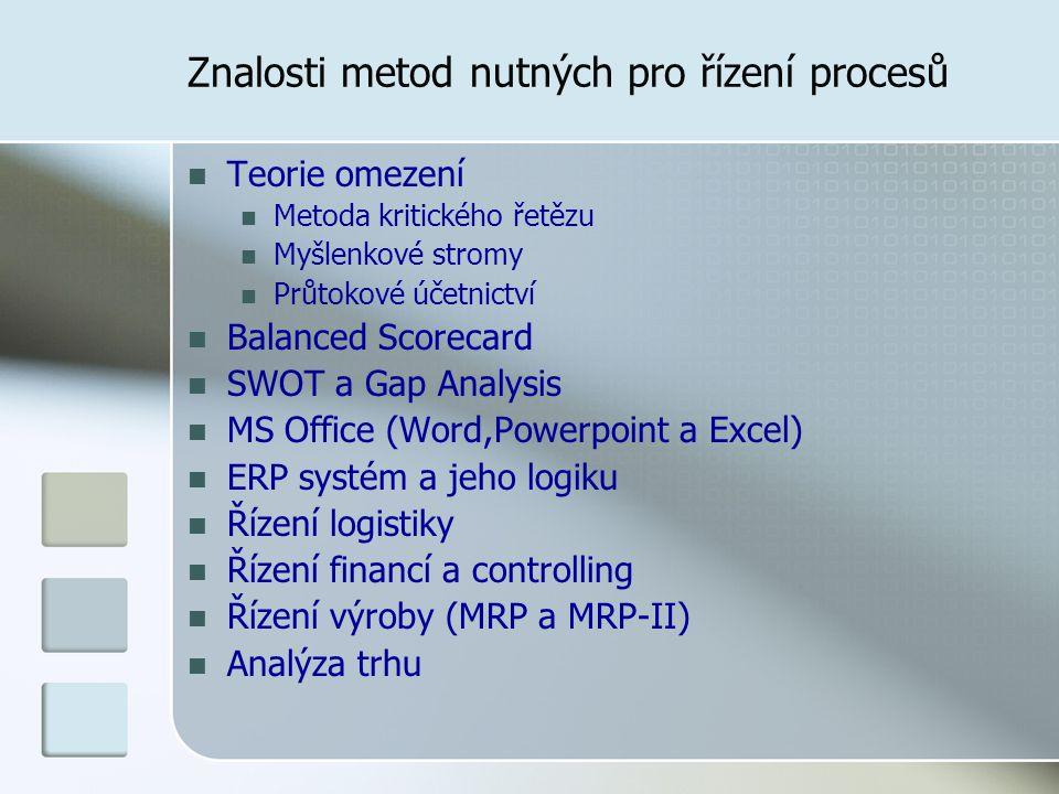 Znalosti metod nutných pro řízení procesů