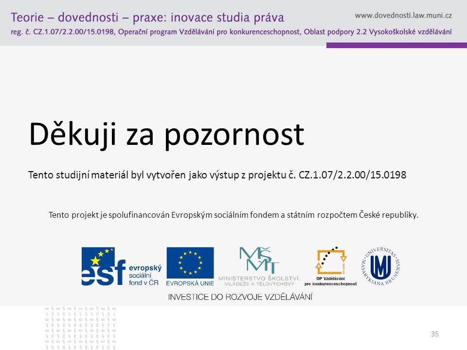 Děkuji za pozornost Tento studijní materiál byl vytvořen jako výstup z projektu č. CZ.1.07/2.2.00/15.0198.