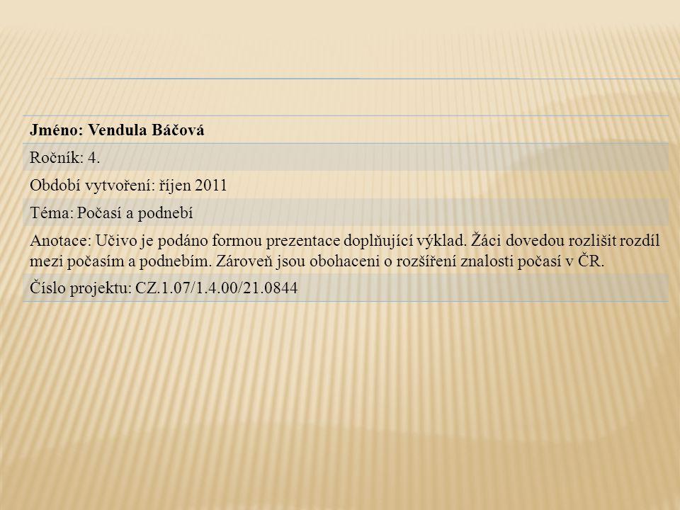 Jméno: Vendula Báčová Ročník: 4. Období vytvoření: říjen 2011. Téma: Počasí a podnebí.