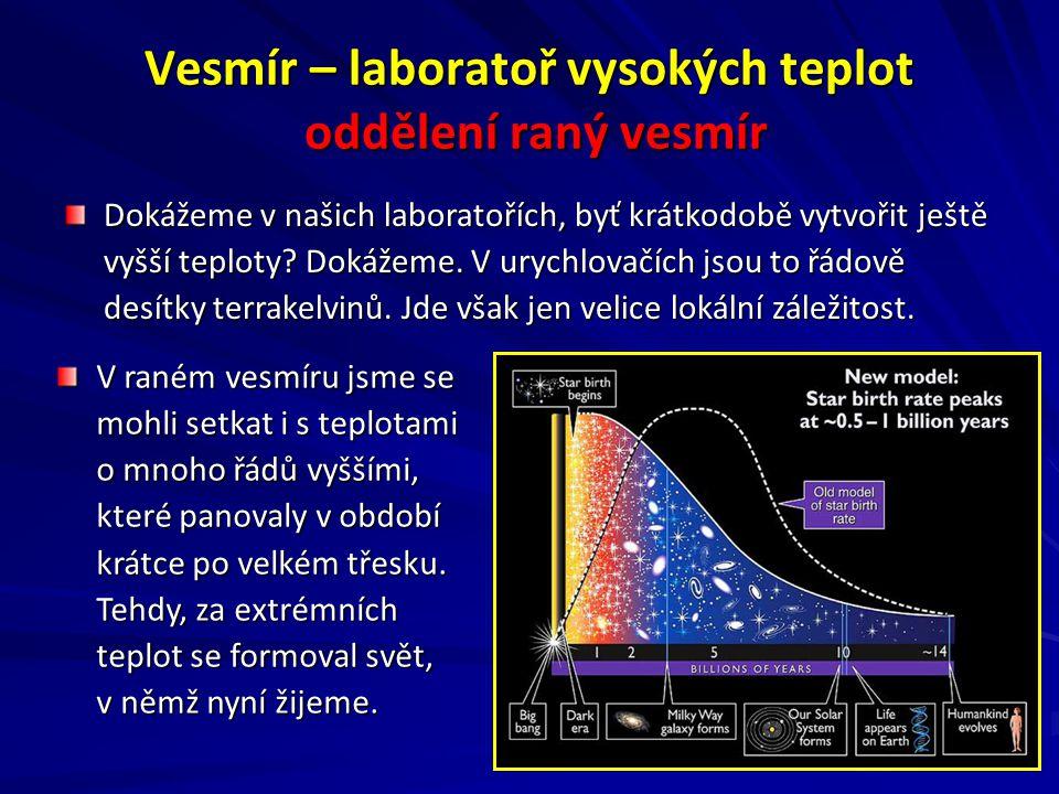 Vesmír – laboratoř vysokých teplot oddělení raný vesmír