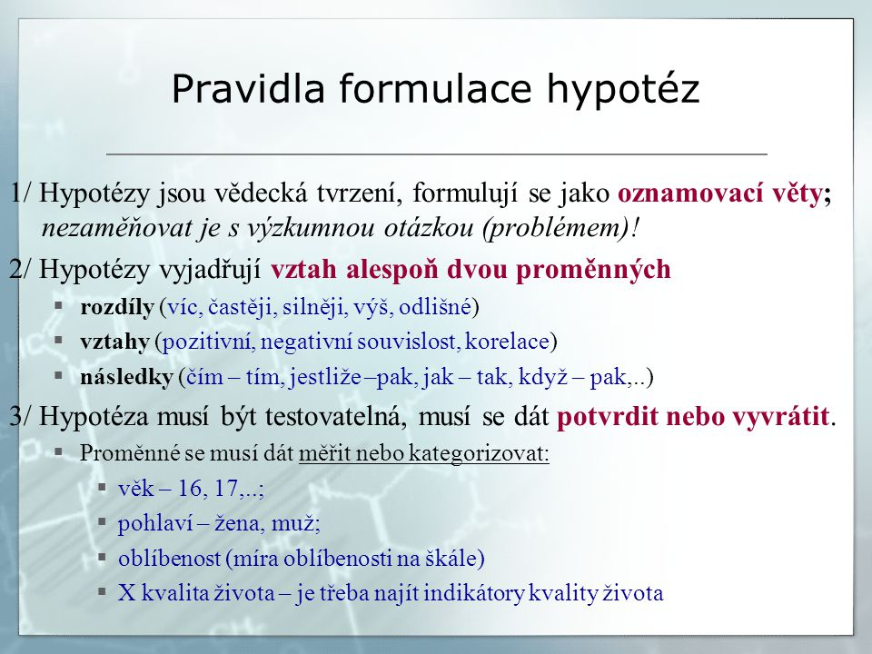 Pravidla formulace hypotéz
