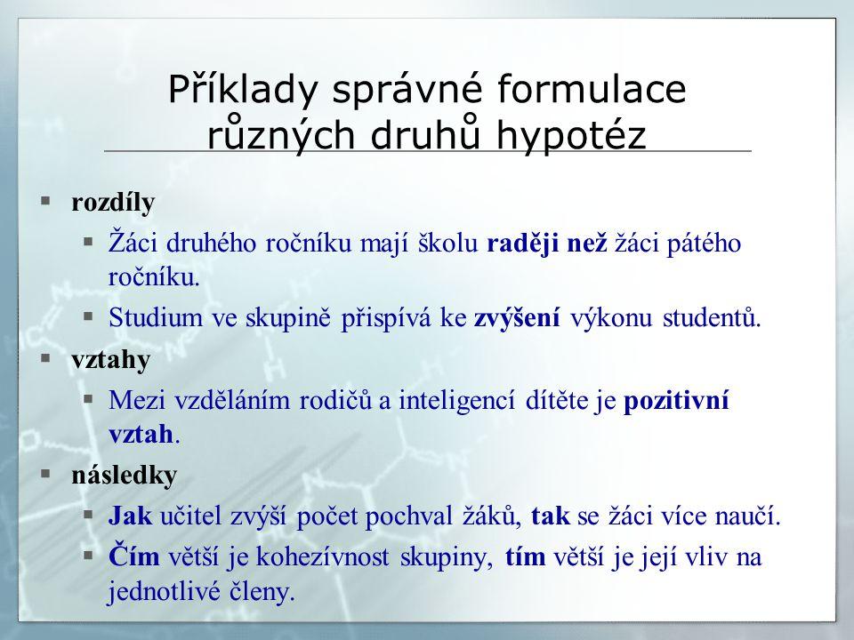Příklady správné formulace různých druhů hypotéz