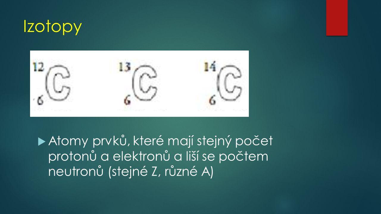 Izotopy Atomy prvků, které mají stejný počet protonů a elektronů a liší se počtem neutronů (stejné Z, různé A)