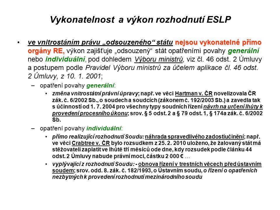 Vykonatelnost a výkon rozhodnutí ESLP