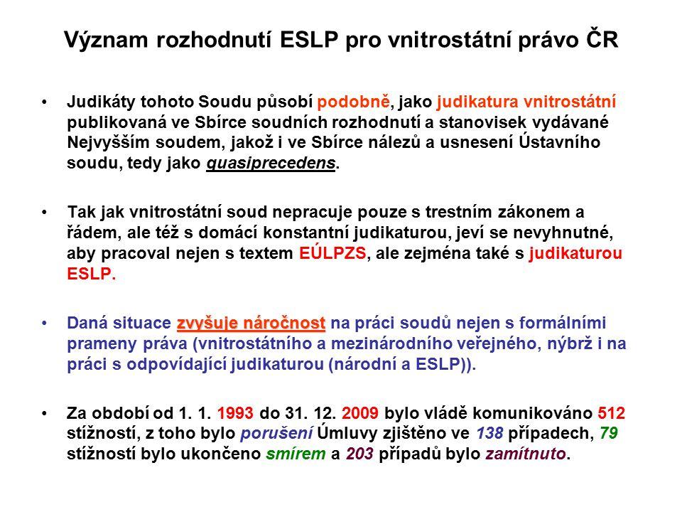 Význam rozhodnutí ESLP pro vnitrostátní právo ČR