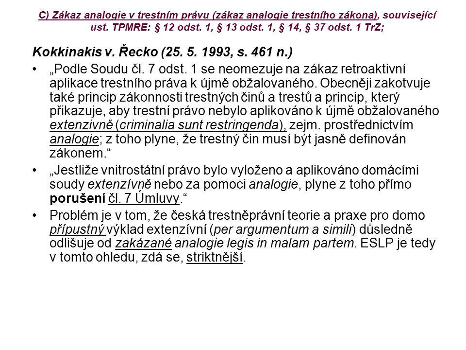 Kokkinakis v. Řecko (25. 5. 1993, s. 461 n.)