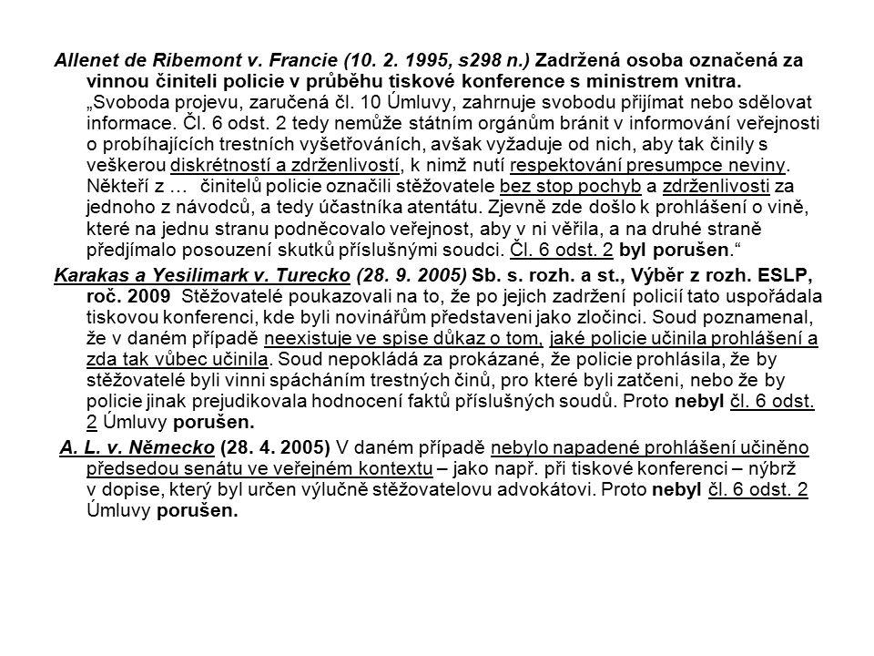 Allenet de Ribemont v. Francie (10. 2. 1995, s298 n